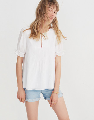 Embroidered Pintuck Top in eyelet white image 2