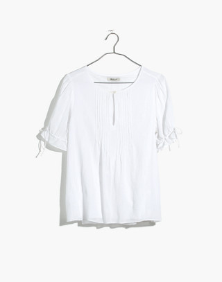 Embroidered Pintuck Top in eyelet white image 4