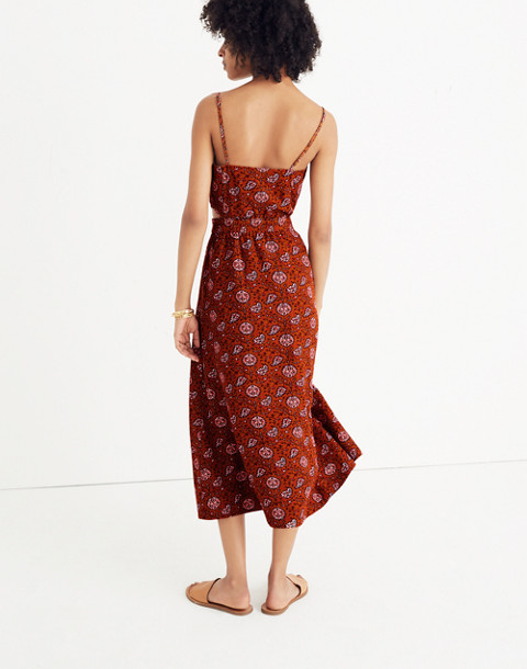 Cutout Cami Midi Dress in Warm Paisley in provincial burnt sienna image 3