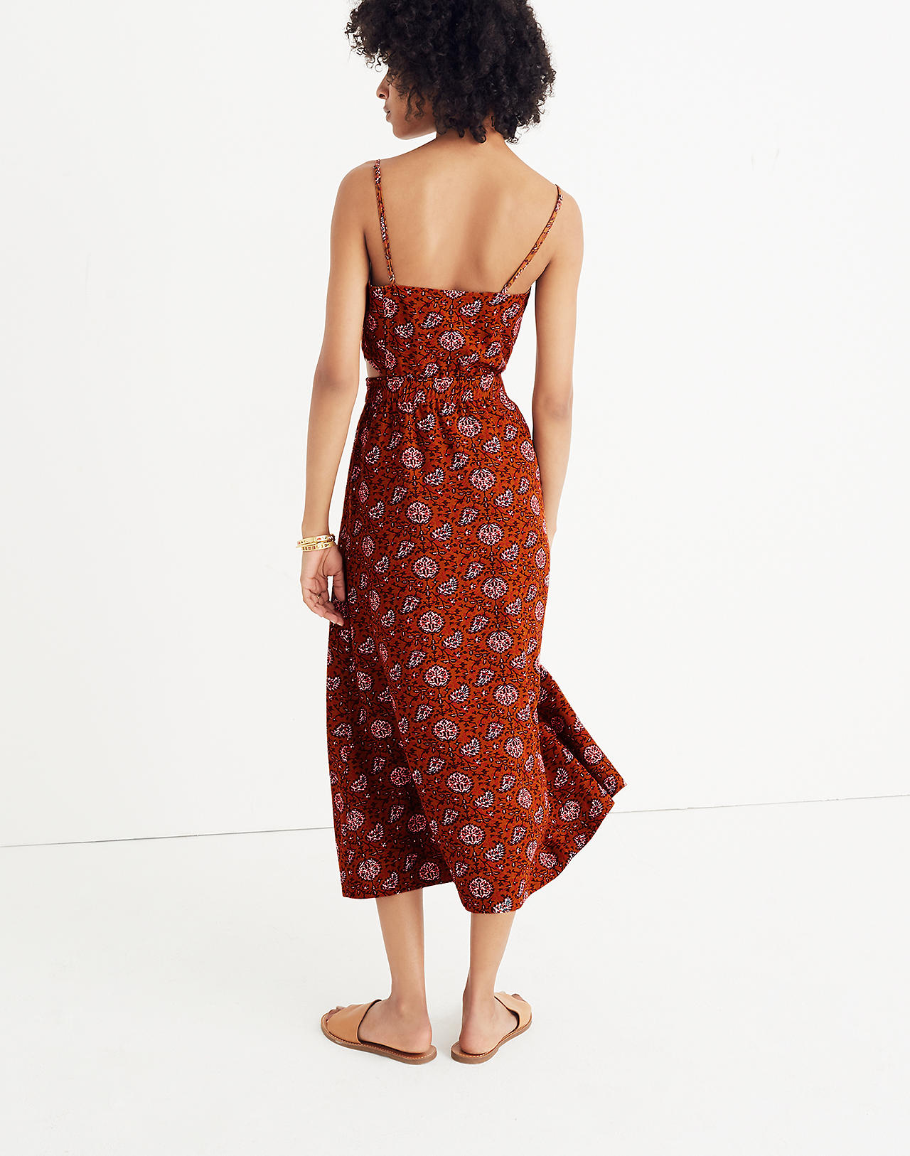 fe65ad144c8 Cutout Cami Midi Dress in Warm Paisley in provincial burnt sienna image 3