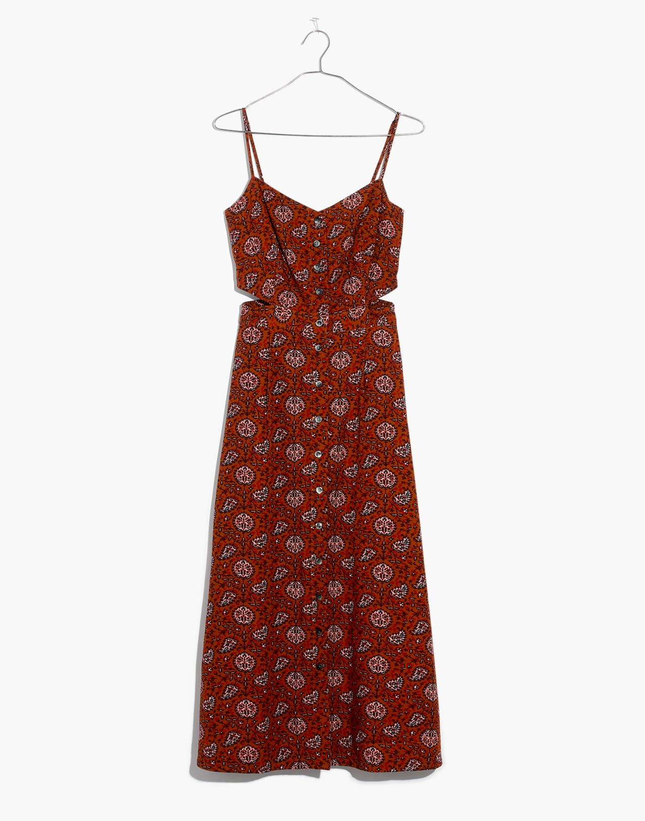 Cutout Cami Midi Dress in Warm Paisley in provincial burnt sienna image 4