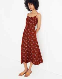 Cutout Cami Midi Dress in Warm Paisley