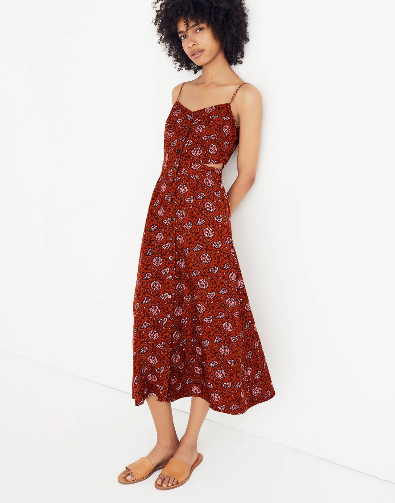Cutout Cami Midi Dress in Warm Paisley in provincial burnt sienna image 1