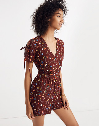 Button-Front Romper in Painted Carnations in allie deep plum image 3