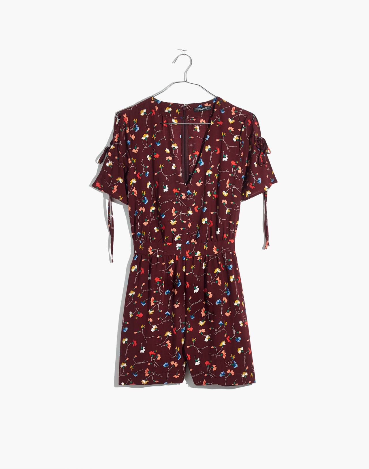 Button-Front Romper in Painted Carnations in allie deep plum image 4
