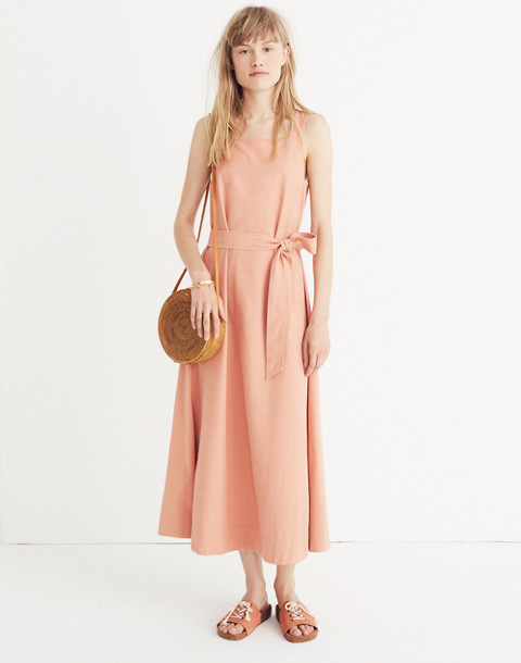 Apron Tie-Waist Dress in antique coral image 2