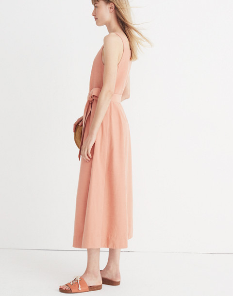 Apron Tie-Waist Dress in antique coral image 3