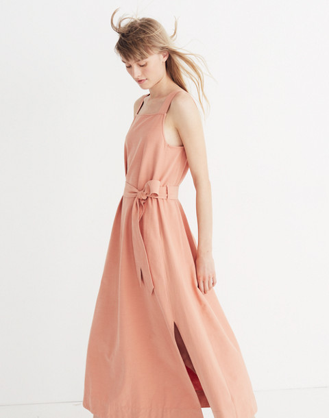Apron Tie-Waist Dress in antique coral image 1