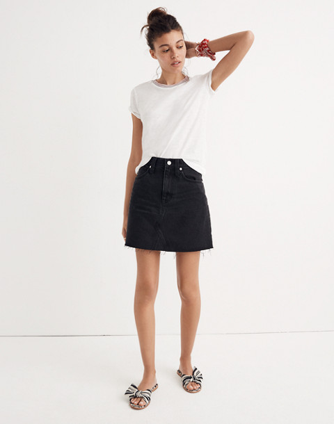 Denim Frisco Mini Skirt in Lunar Wash in lunar wash image 1