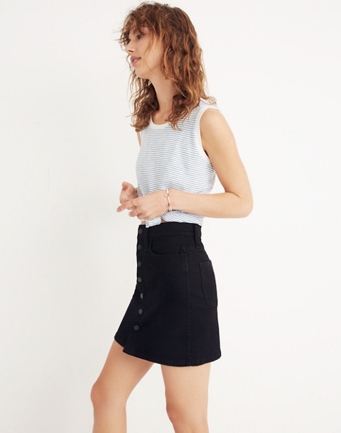 Stretch Denim Straight Mini Skirt in Black Frost: Button-Front Edition in black frost image 3