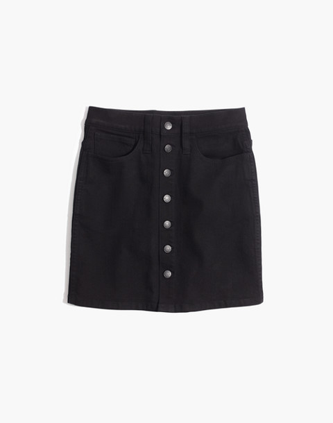 Stretch Denim Straight Mini Skirt in Black Frost: Button-Front Edition in black frost image 4