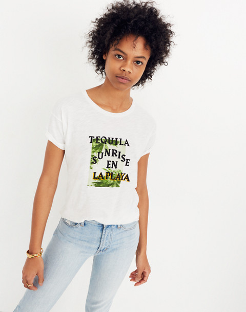 Tequila Sunrise Whisper Cotton Crewneck Tee in eyelet white image 3