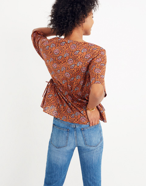 Drawstring-Waist Shirt in Warm Paisley in provincial burnt sienna image 2