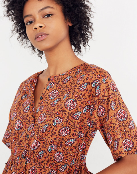Drawstring-Waist Shirt in Warm Paisley in provincial burnt sienna image 3