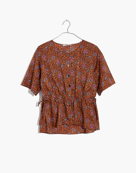 Drawstring-Waist Shirt in Warm Paisley in provincial burnt sienna image 4