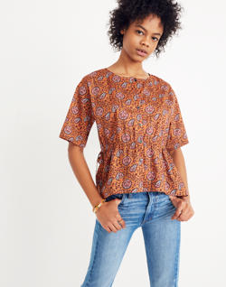 Drawstring-Waist Shirt in Warm Paisley