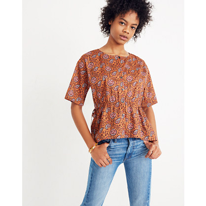 Drawstring Waist Shirt In Warm Paisley by Madewell