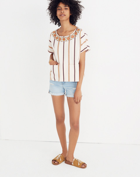 Embroidered Boxy Top in Rocco Stripe in antique coral image 2