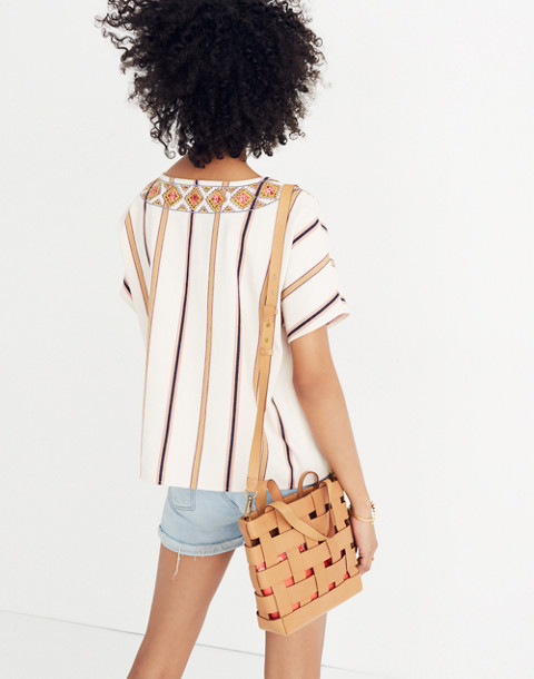 Embroidered Boxy Top in Rocco Stripe in antique coral image 3
