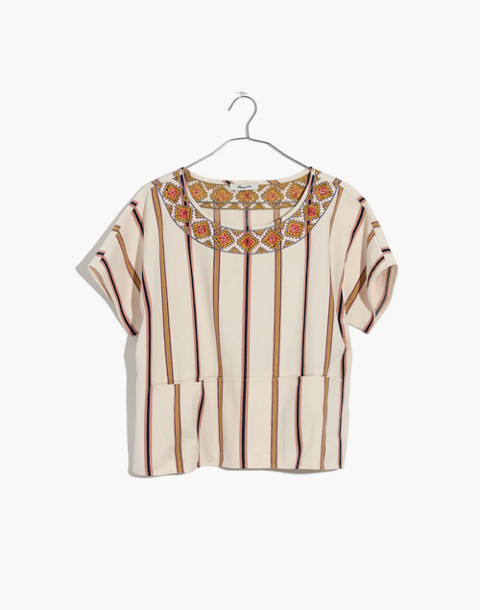 Embroidered Boxy Top in Rocco Stripe in antique coral image 4
