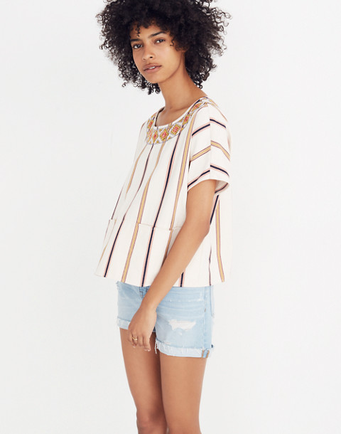 Embroidered Boxy Top in Rocco Stripe in antique coral image 1