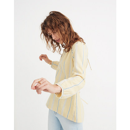 Tie Back Peasant Top In Atlantic Stripe by Madewell