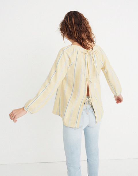 Tie-Back Peasant Top in Atlantic Stripe