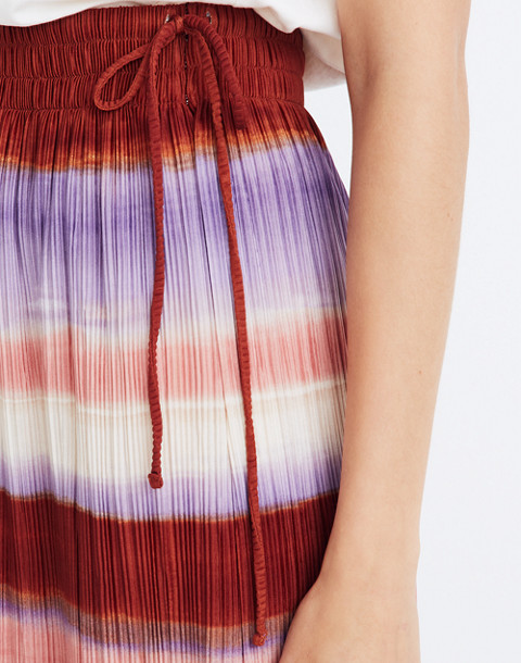 Texture & Thread Micropleat Midi Skirt in Ombré Rainbow in clementine cream image 3