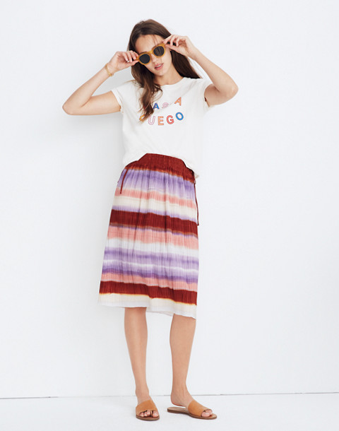 Texture & Thread Micropleat Midi Skirt in Ombré Rainbow in clementine cream image 1