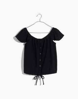 Texture & Thread Off-the-Shoulder Top in true black image 4