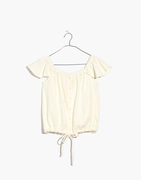 Texture & Thread Off-the-Shoulder Top in bright ivory image 1