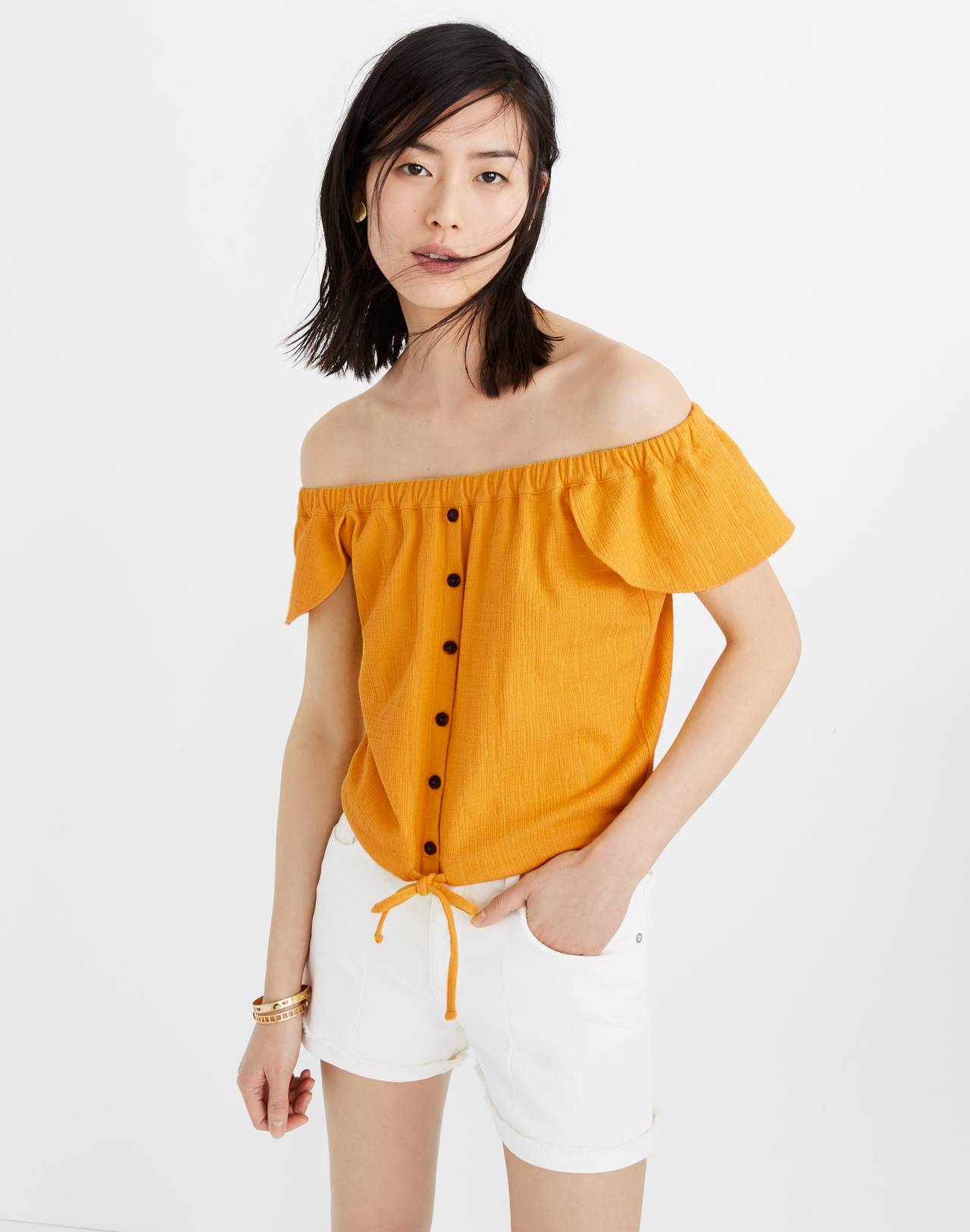 Texture & Thread Off-the-Shoulder Top in celestial gold image 1
