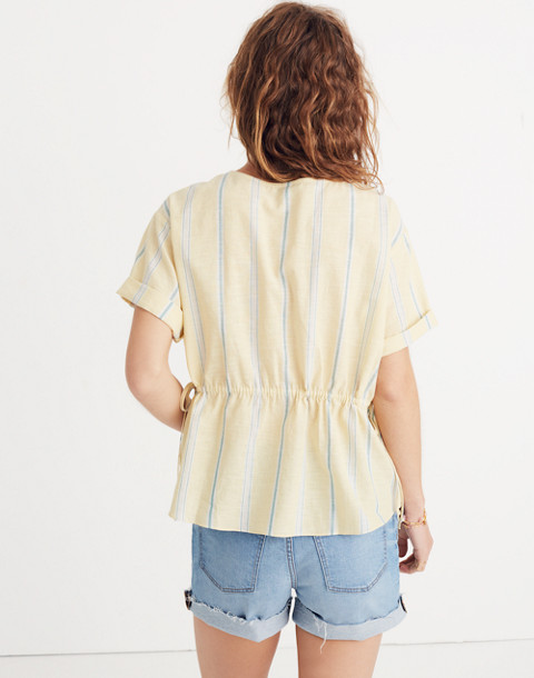 Drawstring-Waist Shirt in Atlantic Stripe in light straw image 3