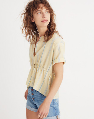 Drawstring-Waist Shirt in Atlantic Stripe in light straw image 1