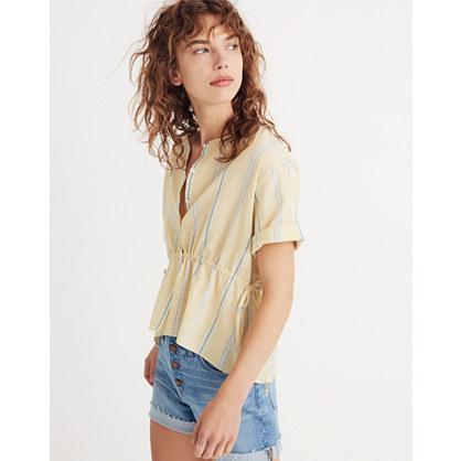 Drawstring Waist Shirt In Atlantic Stripe by Madewell