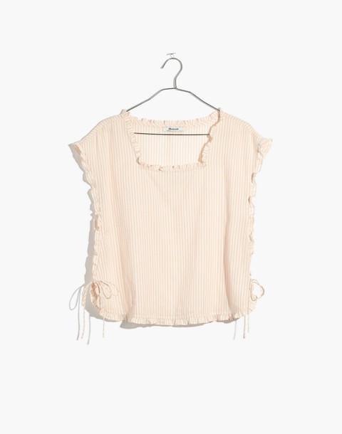 Ruffled Side-Tie Top in Stripe in burnished blush image 4