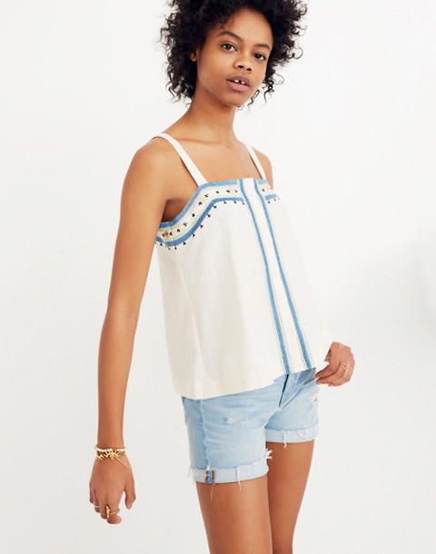 Mirror-Embroidered Tank Top in vintage lace image 1