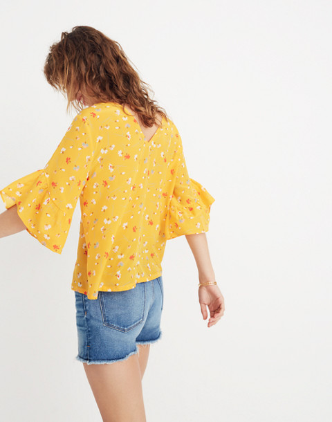 Silk Ruffle-Sleeve Top in Painted Carnations