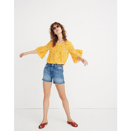 Silk Ruffle Sleeve Top In Painted Carnations by Madewell