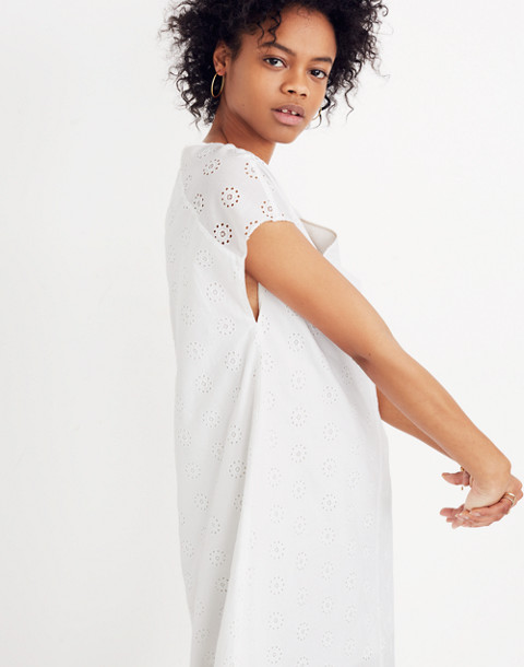 Eyelet Midi Dress in eyelet white image 2