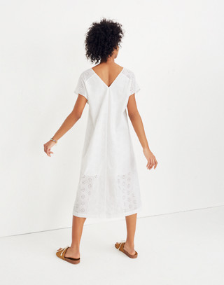 Eyelet Midi Dress in eyelet white image 3