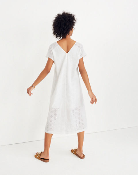 Eyelet Midi Dress in eyelet white image 3
