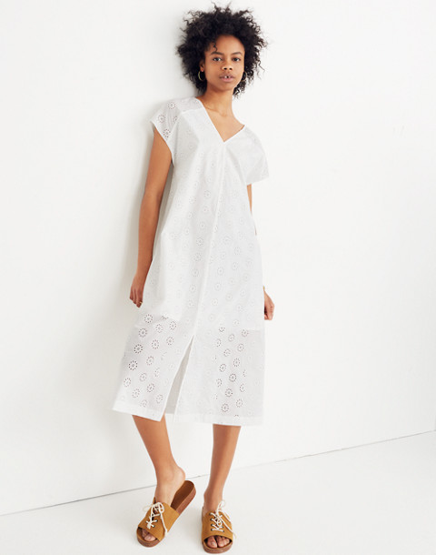 Eyelet Midi Dress in eyelet white image 1
