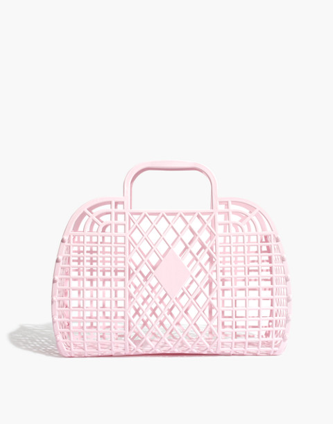 Sun Jellies Retro Basket Tote in light pink image 1