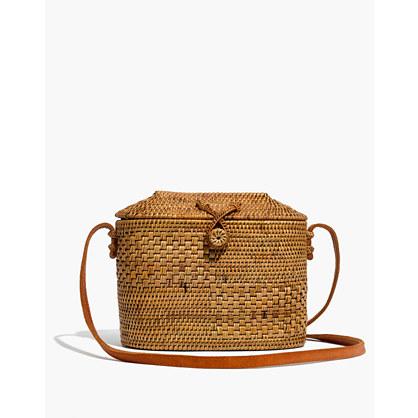 Folk Fortune Bali Rattan Top-Lid Bag