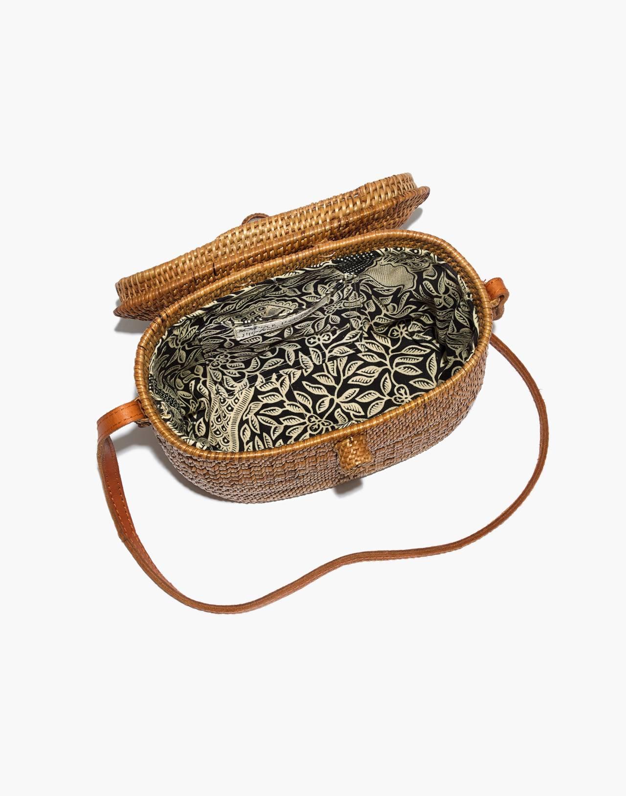 Folk Fortune Bali Rattan Top-Lid Bag in rattan image 3
