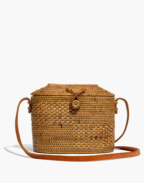 Folk Fortune Bali Rattan Top-Lid Bag in rattan image 1