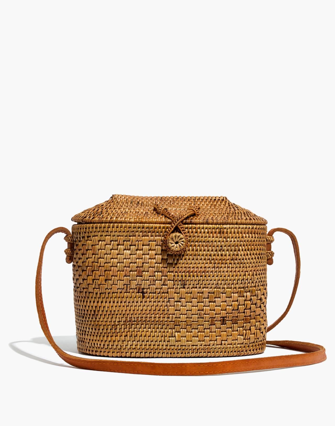 Folk Fortune Bali Rattan Top-Lid Bag in rattan image 1