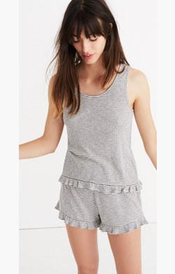 Ruffle-Hem Pajama Tank in Stripe