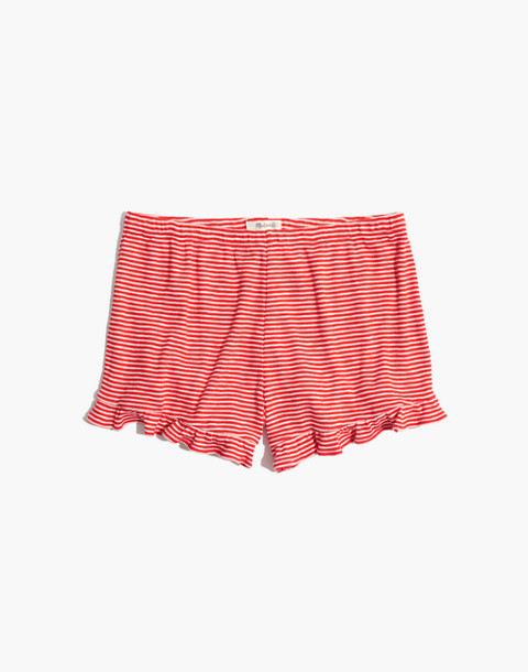 Ruffle-Hem Pajama Shorts in Stripe in ripe persimmon image 4